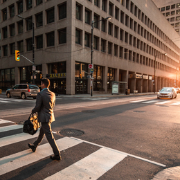 Person walking in a crosswalk in the city showing dangers of pedestrian accidents
